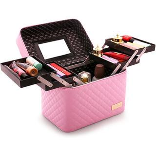 メイクボックス コスメボックス 鏡付き 大容量 化粧品 収納 プロ仕様 ピンク(メイクボックス)