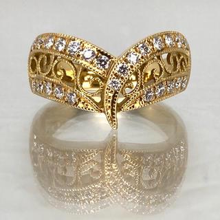 期間限定価格出品 アンティークデザイン ダイアモンド リング K18(リング(指輪))