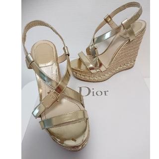 クリスチャンディオール(Christian Dior)のディオール ウェッジサンダル ヒール 金 ゴールド(サンダル)
