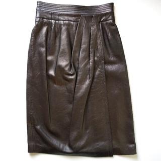 ロエベ(LOEWE)の【再値下げ】 新品 LOEWE ロエベ  レザースカート ブラック(ひざ丈スカート)