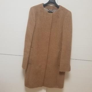 ニジュウサンク(23区)の23区 ノーカラー アルパカ コート キャメル 羊毛(ノーカラージャケット)