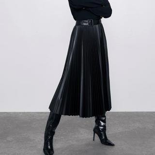 ザラ(ZARA)の新品ZARA‼︎ベルト付きフェイクレザープリーツスカート(ロングスカート)