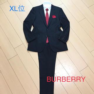 バーバリー(BURBERRY)の極美品★バーバリーSuper120'sシャドーストライプスーツ秋冬 黒/A37(セットアップ)