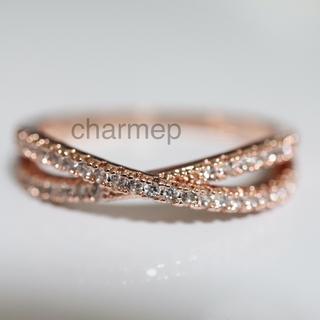 【AR088】czダイヤモンドのクロスモチーフピンクゴールドリング指輪(リング(指輪))