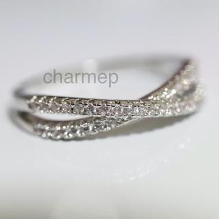 【AR089】czダイヤモンドのクロスモチーフシルバーリング指輪(リング(指輪))