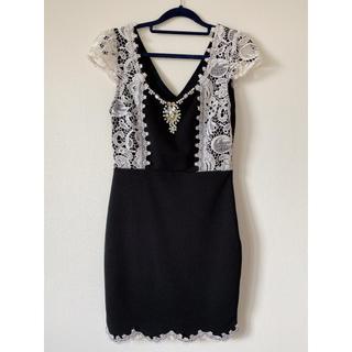 ジュエルズ(JEWELS)のミニドレス サイズ S ビジュー ブラック(ナイトドレス)