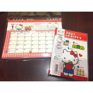 ハローキティ(ハローキティ)のハローキティ キティ 手帳 卓上カレンダー 2021年(カレンダー/スケジュール)