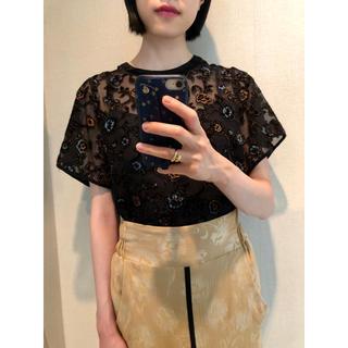 ステュディオス(STUDIOUS)のUNITED TOKYO フラワー 刺繍 ブラウス ブラック(シャツ/ブラウス(半袖/袖なし))