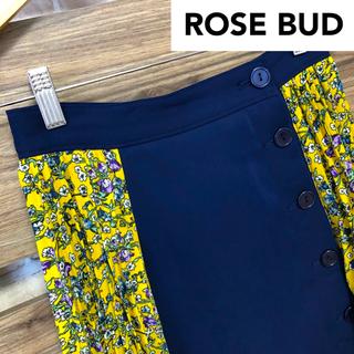 ローズバッド(ROSE BUD)のローズバッド ROSEBUD プリント切替 柄切替 花柄 プリーツスカート S(ひざ丈スカート)