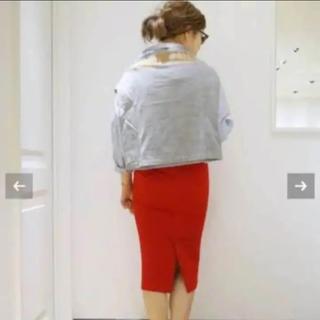 ドゥーズィエムクラス(DEUXIEME CLASSE)の美品ストレッチポンチスカート 希少 赤(ひざ丈スカート)