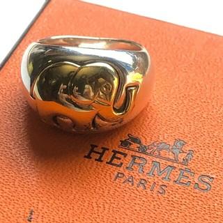 エルメス(Hermes)の稀少vintage HERMES エルメス リング  象 シルバー K18(リング(指輪))