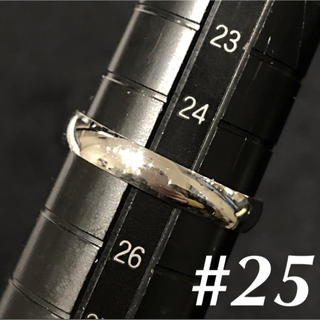 刻印無料D⭐︎25号 シンプル シルバーリング甲丸 ステンレス製 幅4mmメンズ(リング(指輪))