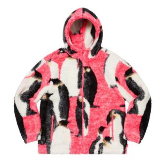 シュプリーム(Supreme)のPenguins Hooded Fleece Jacket pink ペンギン(ブルゾン)