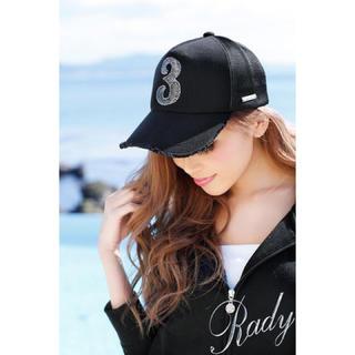 レディー(Rady)のrady 3ビジューシークイーンキャップ 黒(キャップ)