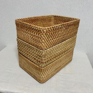 ムジルシリョウヒン(MUJI (無印良品))の無印良品 * 重なるラタン長方形バスケット(小) 3個セット(バスケット/かご)