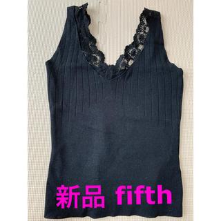 フィフス(fifth)のfifth Vネックレースキャミニット 黒(キャミソール)