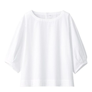 ムジルシリョウヒン(MUJI (無印良品))の無印良品 新疆綿洗いざらしブロード五分袖ブラウス(シャツ/ブラウス(半袖/袖なし))