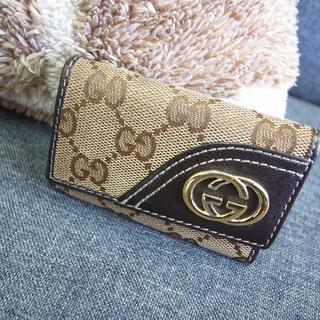 Gucci - 正規品☆グッチ キーケース GG柄キャンバス レザー バッグ 財布 小物