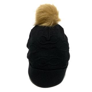 コーチ(COACH)のCOACH(コーチ) ニット帽 O/S 黒×ベージュ(ニット帽/ビーニー)