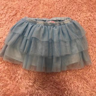美品 ミキハウス Sサイズ【100〜110】チュールスカート ブルー 水色