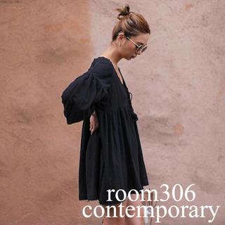 room306 CONTEMPORARY - room306contemporary タッセルチュニックワイドワンピース 黒