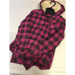 ◆新品◆濃いピンクチェック+シャギーボア付きシャツ◆秋冬(シャツ/ブラウス(長袖/七分))