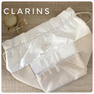 クラランス(CLARINS)のクラランス ノベルティポーチ 大容量 オフホワイト メイクポーチ(その他)