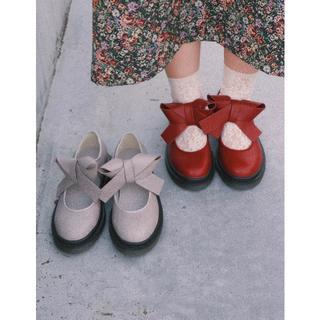 メリージェニー(merry jenny)のmerry jenny(新作)PUリボンラバーシューズ(ローファー/革靴)