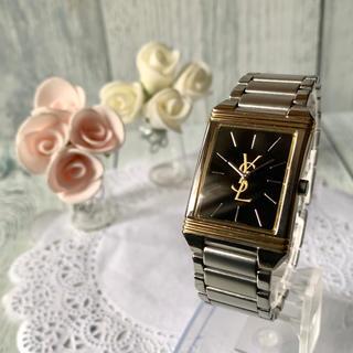 サンローラン(Saint Laurent)の【美品】Yves Saint Laurent  腕時計 ボーイズ スクエア 黒(腕時計(アナログ))