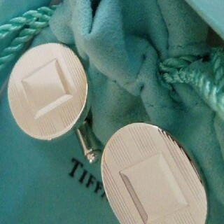 ティファニー(Tiffany & Co.)のティファニーストライプ×鏡面オーバルカフス(カフリンクス)