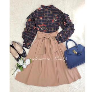 コーデセット ♡ フラワーチェックブラウス+ウエストリボンスカート ♡