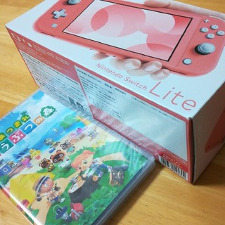 ニンテンドースイッチ(Nintendo Switch)のスイッチ ライト コーラル + あつまれどうぶつの森(携帯用ゲーム機本体)