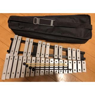 折畳み式グロッケン ソフトケース、マレット(通常・消音タイプ)2セット付(鉄琴)