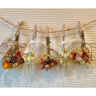 お花たっぷりドライフラワー スワッグ ガーランド❁¨̮㊷黄色 白 薔薇 花束(ドライフラワー)