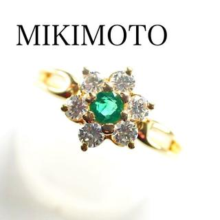 ミキモト(MIKIMOTO)のミキモト ダイヤ 0.24ct エメラルド 0.08ct K18YG リング(リング(指輪))
