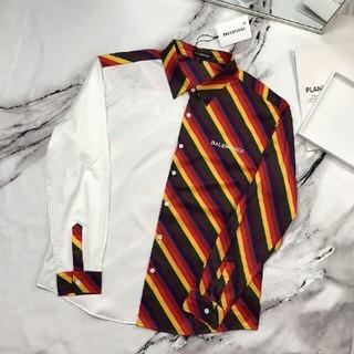 バレンシアガ(Balenciaga)のファッション カラーブロックデザインシャツ   刺繍ロゴ   長袖(シャツ)
