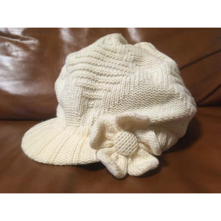 マリークワント(MARY QUANT)のMARY QUANT 白ニット帽(キャスケット)(キャスケット)