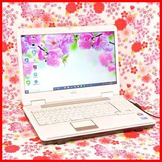 フジツウ(富士通)の【人気のホワイト!】Core i5♪大容量♪初心者も安心♪Windows10(ノートPC)
