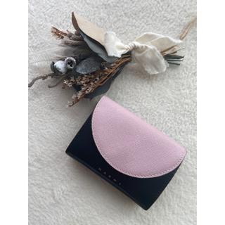 マルニ(Marni)のMARNI 三つ折り財布 ピンク×ブラック(財布)