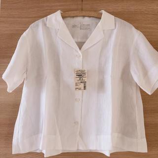 ムジルシリョウヒン(MUJI (無印良品))のMUJI オーガニックリネン洗いざらし半袖開襟シャツ婦人XS~S・白(シャツ/ブラウス(半袖/袖なし))