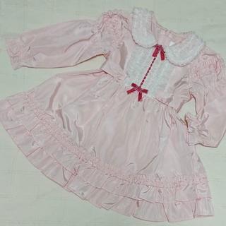 シャーリーテンプル(Shirley Temple)の80 シャーリーテンプル フリルとリボンの薄手 長袖ワンピース(ワンピース)