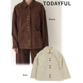 トゥデイフル(TODAYFUL)のCorduroy Jacket サテンカラーコーデュロイジャケット(ノーカラージャケット)