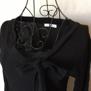 ケティ(ketty)のKETTY ケティ  胸元・裾レース ボウタイ付き 長袖カットソー ブラック(カットソー(長袖/七分))