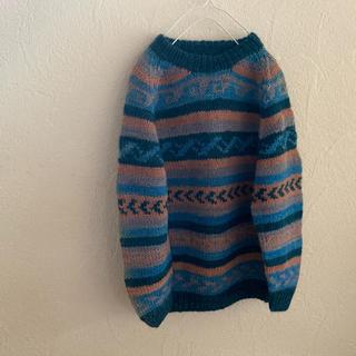 サンタモニカ(Santa Monica)のvintageレトロ古着ネイティブ刺繍ウールニット(ニット/セーター)