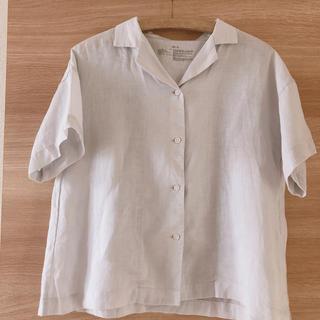 ムジルシリョウヒン(MUJI (無印良品))のMUJI オーガニックリネン洗いざらし半袖開襟シャツ婦人XS~S(シャツ/ブラウス(半袖/袖なし))