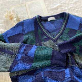 サンタモニカ(Santa Monica)のvintageレトロ古着メンズあおカラフル刺繍ウールニット(ニット/セーター)