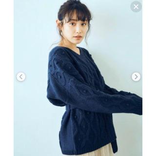 ハコ(haco!)のhaco!パプコーン編みウェストマークケーブルニット(ニット/セーター)