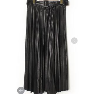 ザラ(ZARA)の美品ZARA‼︎ベルト付きフェイクレザープリーツスカート(ロングスカート)