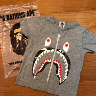 A BATHING APE - エイプ キッズ Tシャツ 定番柄 人気 グレー 100
