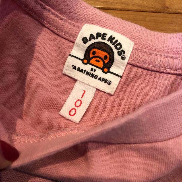 A BATHING APE(アベイシングエイプ)のエイプ キッズ Tシャツ ぴんく 定番柄 人気 完売 キッズ/ベビー/マタニティのキッズ服女の子用(90cm~)(Tシャツ/カットソー)の商品写真
